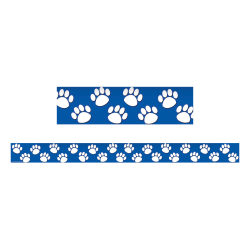 "Teacher Created Resources Border Trim, 3"" x 35"", Blue With White Paw Prints, Pre-K - College, Pack Of 12"