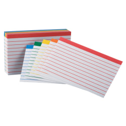 "Office Depot® Brand Color-Coded Ruled Index Cards, 3"" x 5"", Assorted Colors, Pack Of 100"