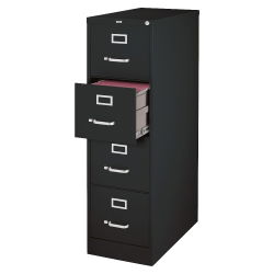 "Lorell® Fortress 26-1/2""D Vertical 4-Drawer Legal-Size File Cabinet, Metal, Black"