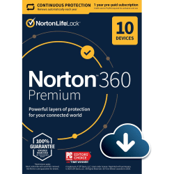 Norton™ 360 Premium, For 10 Devices, 1 Year Subscription, Windows®, Download