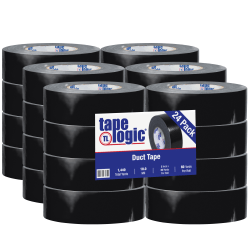 "Tape Logic® Color Duct Tape, 3"" Core, 2"" x 180', Black, Case Of 24"