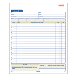 "Adams® Carbonless Purchase Order Book, 8 3/8"" x 10 11/16"", 3-Part, 50 Set Pad"