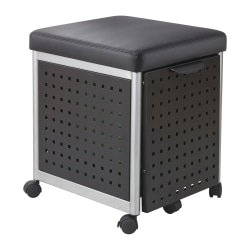 """Scoot 18""""D Vertical 1-Drawer Mobile File Cabinet With Cushioned Seat, Metal, Black"""