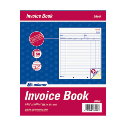 "Adams® Invoice Books, 2-Part, 8 7/16"" x 10 3/4"", White/Canary, 50 Sets Per Book"