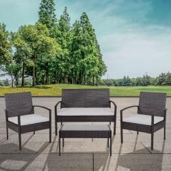 Flash Furniture Aransas Series 4-Piece Steel Patio Set, Black