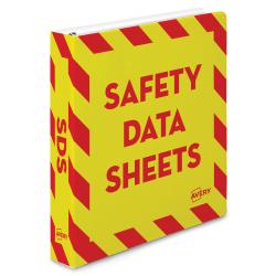 "Avery® Preprinted Safety Data Sheet Binder, 1 1/2"" Rings, Red/Yellow"
