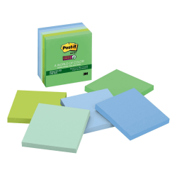 "Post-it® Super Sticky Recycled Notes, 3"" x 3"", Bora Bora, Pack Of 5 Pads"