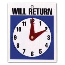 "U.S. Stamp & Sign Message Sign, ""Will Return"" Clock"
