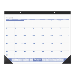 "AT-A-GLANCE® Monthly Desk Pad Calendar, 21-3/4"" x 17"", January To December 2021, SW20000"