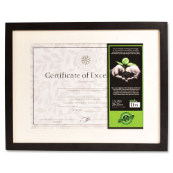 "DAX FSC Certified Black Wooden Frame - 11"" x 14"" Frame Size - Holds 8"" x 10.50"" Insert - Wall Mountable - Vertical, Horizontal - Button Closure, Hanger - 1 Each - Wood, Glass - Black"