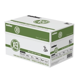 """Boise® X-9® Multi-Use Copy Paper, 3-Hole Punched, Letter Size (8 1/2"""" x 11""""), 20 Lb, Bright White, Ream Of 500 Sheets, Case Of 10 Reams"""