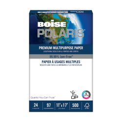 "Boise® POLARIS® Premium Multi-Use Paper, Ledger (11"" x 17""), 24 Lb, FSC® Certified, Ream Of 500 Sheets"