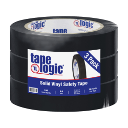 "BOX Packaging Solid Vinyl Safety Tape, 3"" Core, 1"" x 36 Yd., Black, Case Of 3"