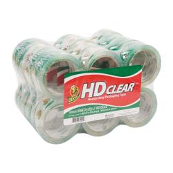 "Duck® HD Clear™ Heavy-Duty Packaging Tape, 1-7/8"", Crystal Clear, Box Of 24 Rolls"