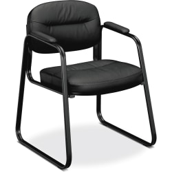 HON® SofThread™ Bonded Leather Guest Chair, Black