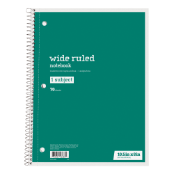 "Just Basics® Spiral Notebook, 7-1/2"" x 10-1/2"", Wide Ruled, 140 Pages (70 Sheets), Green"