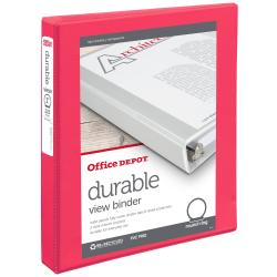 "Office Depot® Brand Durable View 3-Ring Binder, 1"" Round Rings, Orange"