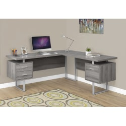 Monarch Specialties L-Shaped Corner Computer Desk With 2 Drawers, Dark Taupe