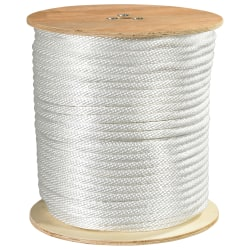 """Office Depot® Brand Solid Braided Nylon Rope, 6,000 Lb, 5/8"""" x 500', White"""