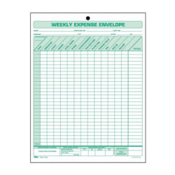 """TOPS Weekly Expense Envelopes - Double Sided Sheet - 11"""" x 8 1/2"""" Sheet Size - 1 x Holes - White Sheet(s) - Green Print Color - 20 / Pack"""