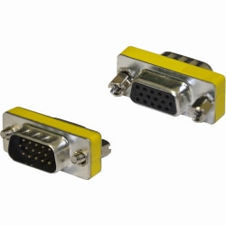 4XEM VGA HD15 Male To Female Adapter - 1 x HD-15 Male VGA - 1 x HD-15 Female VGA - Silver, Yellow