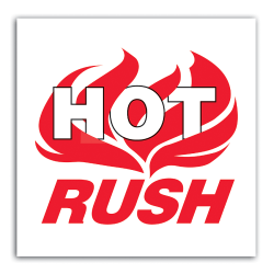 "Tape Logic® Preprinted Shipping Labels, DL3194, ""Hot Rush"", 6"" x 6"", Red/White, Roll Of 500"
