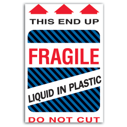 """Tape Logic® Preprinted Shipping Labels, DL1580, """"This End Up Liquid In Plastic Fragile"""", 4"""" x 6"""", Red/White, Roll Of 500"""