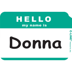 C-Line HELLO my name is... Name Tags - Green, Peel & Stick, 3-1/2 x 2-1/4, 100/BX, 92233