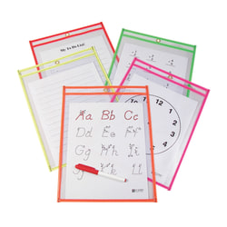 """C-Line® Reusable Dry-Erase Pockets, 9"""" x 12"""", Neon Assorted Colors, Pack Of 10"""