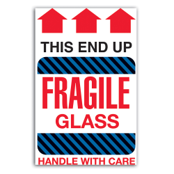 "Tape Logic® Preprinted Shipping Labels, DL1980, ""This End Up Fragile Glass Handle With Care"", 4"" x 6"", Red/White, Roll Of 500"