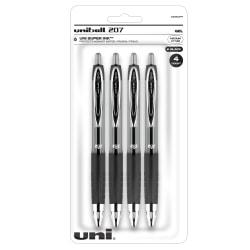 uni-ball® Signo Gel 207™ Retractable Gel Pens, Medium Point, 0.7 mm, Clear Barrel, Black Ink, Pack Of 4 Pens