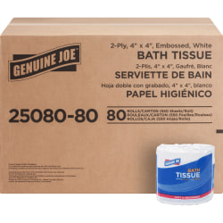 Genuine Joe 2-Ply Embossed Roll Toilet Paper, 550 Sheets Per Roll, Case Of 80 Rolls