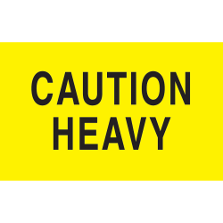 "Preprinted Special Handling Labels, DL2101, ""Caution Heavy"", 5"" x 3"", Bright Yellow, Roll Of 500"