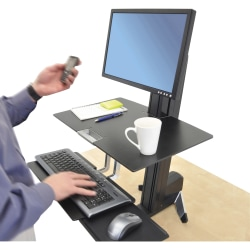 Ergotron® WorkFit-S Sit-To-Stand Workstation, Black