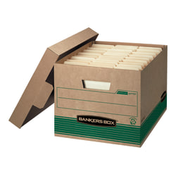"Bankers Box® Stor/File™ Medium-Duty Storage Boxes With Locking Lift-Off Lids And Built-In Handles, Letter/Legal Size, 15"" x 12"" x 10"", 100% Recycled, Kraft/Green, Case Of 12"