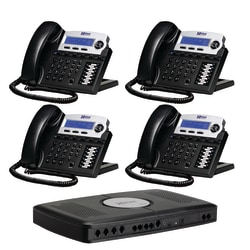 XBLUE Networks X16 Corded Telephone Bundle, Charcoal, Set of 4