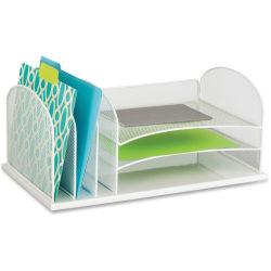 "Safco Onyx 3 Tray/3 Upright Section Desk Organizer - 8.3"" Height x 19.5"" Width x 11.5"" Depth - Desktop - White - Steel - 1Each"