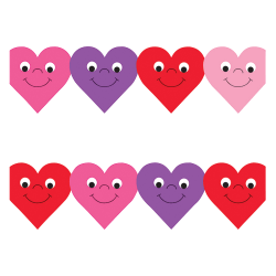 """Hygloss Happy Hearts Design Border Strips - 12 (Happy Hearts) Shape - Damage Resistant, Durable, Long Lasting - 36"""" Height x 3"""" Width - Assorted - 12 / Pack"""