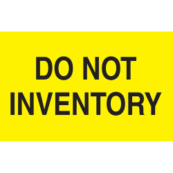 "Preprinted Special Handling Labels, DL2281, ""Do Not Inventory"", 5"" x 3"", Bright Yellow, Roll Of 500"