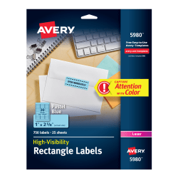 Avery® High-Visibility Permanent Laser ID Labels, 5980, 1? x 2 5/8?, Blue Pastel, Pack Of 750