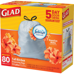 Glad® Tall Kitchen OdorShield Trash Bags With Febreze® Freshness, 13 Gallons, Hawaiian Aloha Scent, White, Pack Of 80 Trash Bags