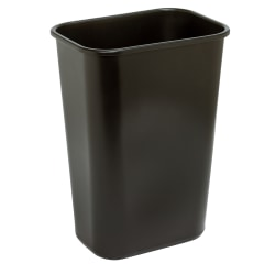 "Highmark™ Rectangular Plastic Wastebasket, 10.25 Gallons, 20-1/2""H x 15-1/2""W x 11-1/2""D, Black"