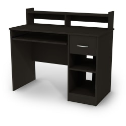 This desk is the perfect answer to organizing clutter. It features a drawer and slide-out keyboard tray, plus a lower open area divided by an deep adjustable shelf. Above the desk, there's a low hutch with a shelf.