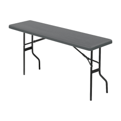 "Iceberg Resin Folding Table, 60""W x 18""D , Charcoal/Black"