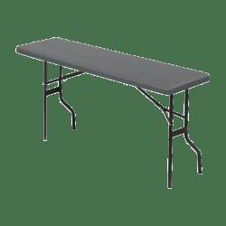 "Iceberg Resin Folding Table, 72""W x 18""D, Charcoal/Black"