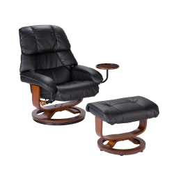 Southern Enterprises Congressional Bonded Leather Recliner And Ottoman Set, Black