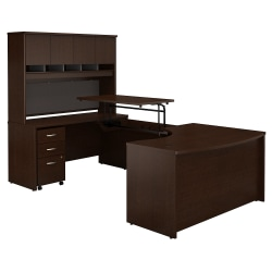 "Bush Business Furniture Components 60""W Left Hand 3 Position Sit to Stand U Shaped Desk with Hutch and Mobile File Cabinet, Mocha Cherry, Premium Installation"
