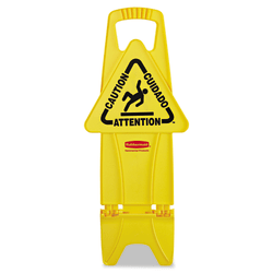 "Rubbermaid® Commercial Stable Multilingual ""Caution"" Safety Sign, 26""H x 13""W x 13 1/4""D, Yellow"