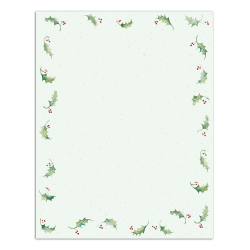 """Great Papers!® Holiday-Themed Letterhead Paper, 8 1/2"""" x 11"""", Holly Bunch, Pack Of 80 Sheets"""