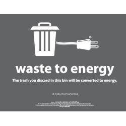 """Recycle Across America Waste-To-Energy Standardized Recycling Labels, WTE-8511, 8 1/2"""" x 11"""", Charcoal"""